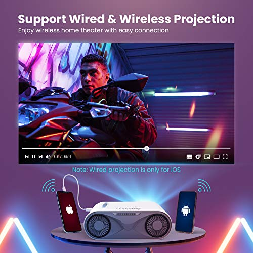 Mini Projector for iPhone, VicTsing Outdoor Portable Projector WiFi Projector 6000L, HD 1080P Supported Video Projector Home Movie Projector Compatible with Type-C /AV/USB/HDMI/VGA/PS4 [Bag Tripod]