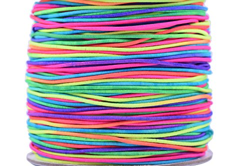 Cheapest Prices! KONMAY 1 Roll 1.0mm 100 Yards Elastic Cord/shock cord (1.0mm, Rainbow)