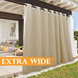 RYB HOME Patio Curtains Outdoor Canvas Curtain, Summer Heat UV Shade Blind for Gazebo/Outdoor Dinning Area/Doorway/Home Theater Decor, 100 Width x 108 Length, 1 Panel, Biscotti Beige