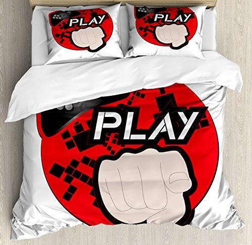 (Lunarable Gamer Queen Size Duvet Cover Set, Gaming Illustration with Play Quote and Pointing Finger Abstract Squares Design, Decorative 3 Piece Bedding Set with 2 Pillow Shams, Cream Black Red)