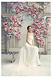 Wanery Beautiful Flowers Wedding Backgrounds 8.2x12.3 FT Photographers Backdrop Cloth Backgrounds for pictures Adult, Child, Animal, Product, Gift, Studio Photography