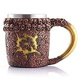 Qpika Glass Bottle, 3D Coffee Mug Resin Tankard Viking Skull Double Wall Christmas Cup (Multicolor)