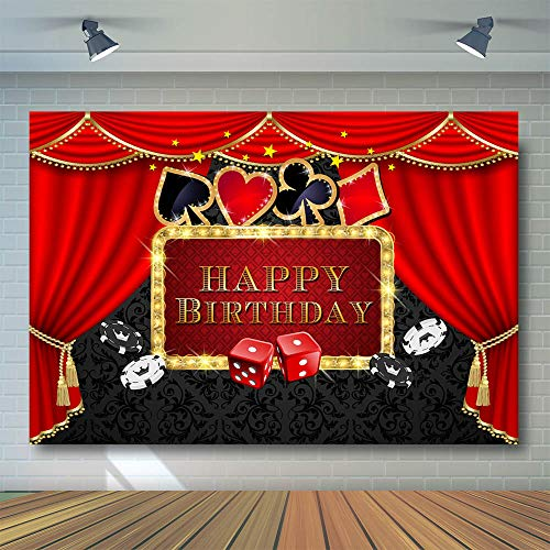(COMOPHOTO Casino Party Background Poker Las Vegas Party Birthday Theme Casino Night Photography Backdrop Decorations Props 8x6ft)