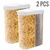 2pcs Airtight Dry Food Containers Cereal Storage Snack Keeper Dispenser 12-18 oz Capacity for Corn Flakes Nuts Sugar Flour with Hovering Flip Top Lid and Large Mouth for Easy Pouring - White