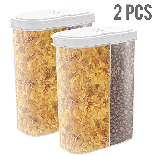 Dual Chamber Airtight Cereal Container Storage Keeper for Dry Food with Hovering Flip Top Lid and Clear Transparent Dispenser up to 13 Cup 101.4 oz | Space Saving Large Mouth for Easy Pouring | White (Vintage Dog Food Container)