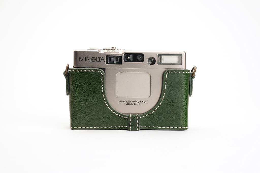 Handmade Genuine Real Leather Half Camera Case Bag Cover for Minolta TC-1 Green Color