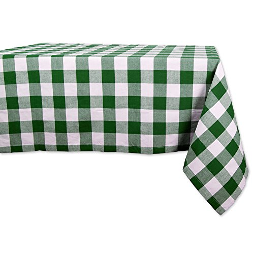 heck Plaid Rectangle Tablecloth for Family Dinners or Gatherings, Indoor or Outdoor Parties, Everyday Use (60x84, Seats 6-8 People), Green & White (Plaid Cotton Tablecloth)