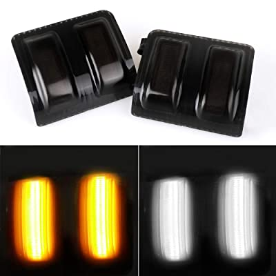 Smoked Lens Switchback LED Side Mirror Marker Lamps For 2008-16 Ford F250 F350 F450 Super Duty, (2) Smoked Lens, White LED Parking Light, Amber LED Turn Signal Light: Automotive