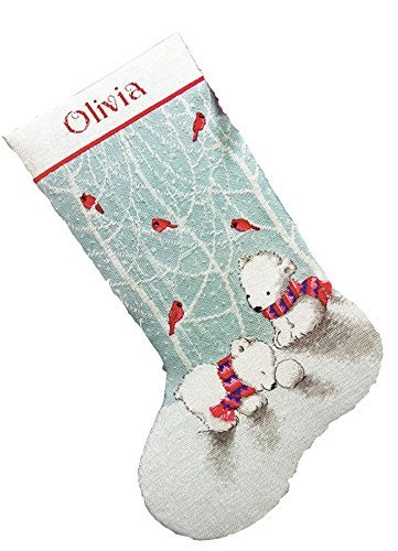 Dimensions Counted Cross Stitch 'Snow Bears' Personalized Christmas Stocking Kit, 14 Count Blue Aida Cloth, -