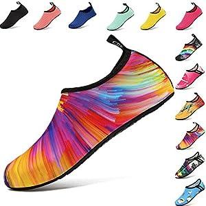 VIFUUR Water Sports Shoes Barefoot Quick-Dry Aqua Yoga Socks Slip-on Men Women Kids Colorful-38/39