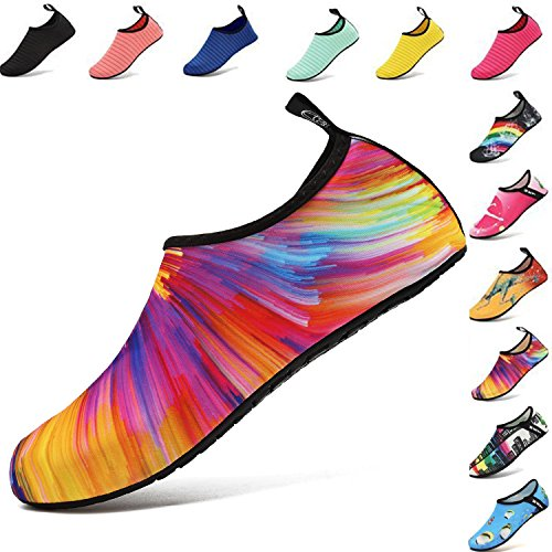VIFUUR Water Sports Shoes Barefoot Quick-Dry Aqua Yoga Socks Slip-on for Men Women Kids Colorful-38/39