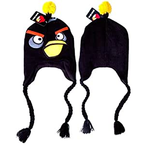 Angry Birds Bomb Black Bird Plush Laplander Earflap Beanie Character Hat Cap / Officially Licensed Product By Rovio