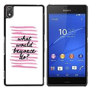 YOYOYO Smartphone Protección Defender Duro Negro Funda Imagen Diseño Carcasa Tapa Case Skin Cover Para Sony Xperia Z3 D6603 D6633 D6643 D6653 D6616 - lo que iba a hacer líneas negras blancas rosadas