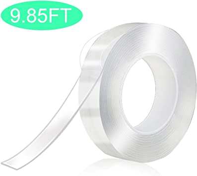 10FT Nano Adhesive Tape,Multipurpose Transparent Double Sided No-Trace Removable Glue Tape,Washable Strong Sticky Wall Tape Strips Transparent Tape Poster Carpet Tape for Paste Items,Household