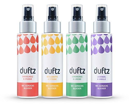 duftz® Bundle 4 Sorten WC Geruchsblocker für den Toilettengang, Mindestens 400 Anwendungen, 4 x 75ml, Toilettenparfum für unterwegs, die Toilette, Badezimmer, Gäste WC