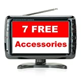 9 Inch Nice Little Portable TV - 7 Free Accessories ($20 Value) - Crisp Picture - Great Sound - for Kitchen, Vehicle, Desk, Camping -Rechargeable Battery - Unlimited Swivel -Sports, News, Emergency