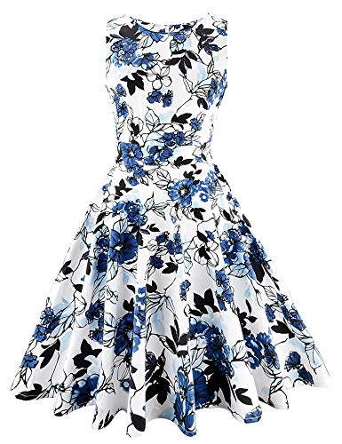 ARANEE Vintage Classy Floral Sleeveless Party Picnic Party Cocktail Dress,XX-Large,02-ink Painting