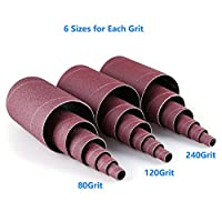 "LotFancy Aluminum Oxide Abrasive Spindle Sanding Sleeves , Pack of 18( 3 each of 1/2"",3/4"",1"",1-1/2"", 2"" and 3"")?"