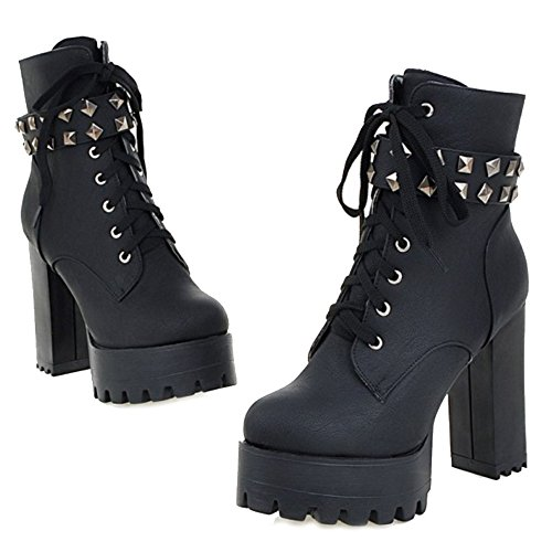 Block Booties amp; Black Small High Size Heel Boots Ankle Smilice Large Platform Fashion Size Women q8nzvE