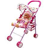 Annie's Collection Baby Doll Stroller with Doll, Foldable with Basket and Adjustable Hood for Girls Aged 1-2 Years Old