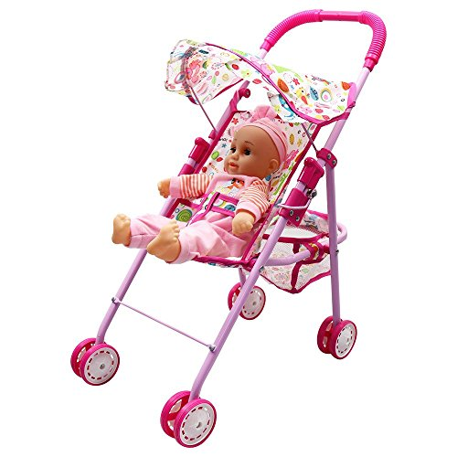 Annie's Collection Baby Doll Stroller with Doll, Foldable with Basket and Adjustable Hood for Girls Aged 1-2 Years Old by Annie's Collection (Image #6)