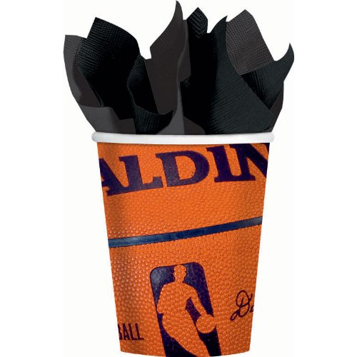 - Amscan Sports & Tailgating NBA Party Spalding Basketball Paper Cups, 18 Pieces, Made from Paper, Orange/Dark Blue by