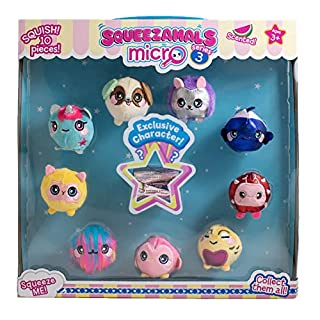 Squeezamals Micro Mystery Black Box Collector Series 3 Watermelon Scented Plush Characters 10 Pack