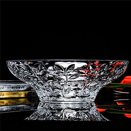 Elegant Crystal Round Bowl With Beautiful Leaf Design Serving Bowl
