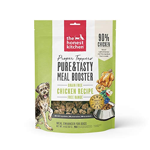 Honest Kitchen Proper Toppers: Natural Human Grade Dehydrated Dog Superfoods  Grain Free Chicken  14 oz - PTCHI14