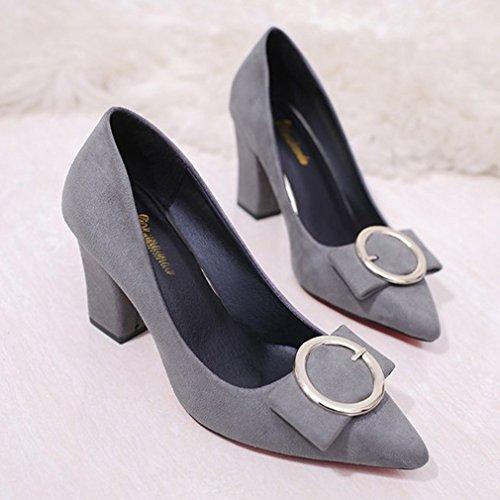Dames Dames Pumps Pumps Loafers Suède Puntschoen Instapper Blokhak Klassieke Mode Loafer Pump Grijs