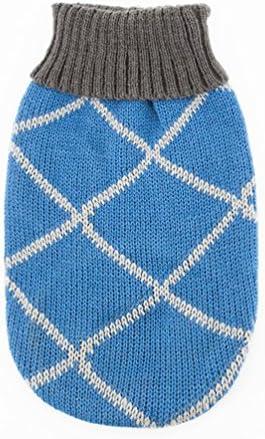 YiJee Animale Domestico Abbigliamento Pullover Natale Righe Maglieria Maglione per Cane Blu XS