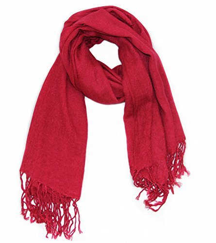 (Soophen Pashmina Scarf Beautiful Solid Colors - Wine)