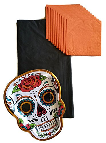 (Day of The Dead Dia De Los Muertos Sugar Skull Party Supplies Paper Plate and Napkin Bundle of 3 - Service for)