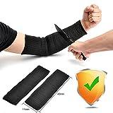 Ideapro 1 Pair Black Kevlar Sleeve 40cm Arm Protection Sleeve Cut Resitant Burn Resistant Anti Abrasion Safety for Garden Kitchen Farm Work