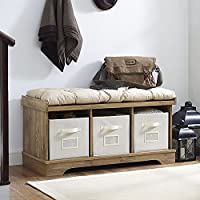 WE Furniture 42 Wood Storage Bench with Totes & Cushion, Barnwood
