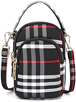 7d5c5833f79b Toniker Nylon Plaid Multi-Pockets Small Crossbody Bags Cell Phone Purse  Smartphone Wallet for Women