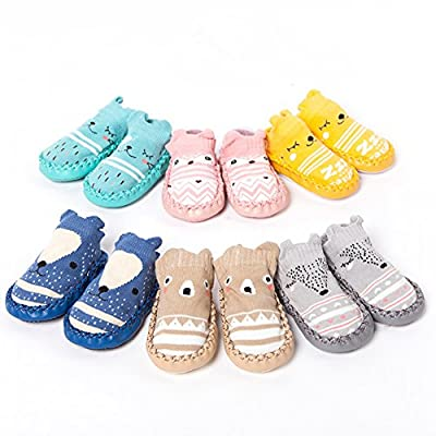 Angel3292 Newborn Baby Anti-skid Floor Hosiery Anti-Slip Faux Leather Bottom Cotton Socks: Clothing