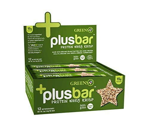 Greens Plus +Plusbar Protein Whey Krisp | Non-GMO & Gluten free | Made with Organic Peanut Butter, Whey Protein Isolate, Chia Seeds & Greens+ Super foods - 12 Nutrition (Advanced Protein Bar Peanut Butter)