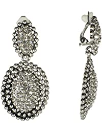 Fashion Silvertone Goldtonr Niello Drop Teardrop Earrings White Faux Pearls Victorian Classic Clip on Jewelry
