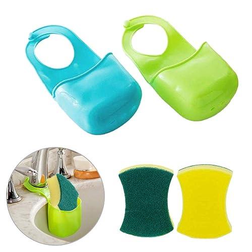 EQLEF® 2PCS Sponge Storage Box Rack Basket Wash Cloth Toilet Soap Shelf Organizer Kitchen Bathroom Gadgets Sink Shelving Bag