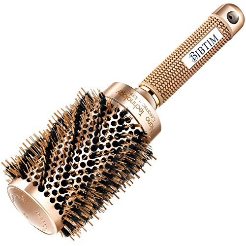 Brush Hair New Ceramic ([ Upgrade ] BIBTIM Round Hair Brush with Boar Bristle for Blow Drying, Curling & Straightening, Professional Salon Styling Brush, Nano Technology Ceramic for Perfect Volume & Shine (Gold))