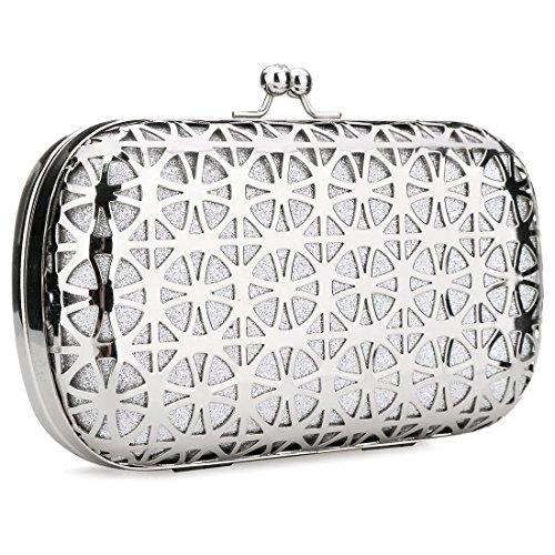 Silver Shiny Women Silver Girls Handbag Fashionable for Clutch Designer Bag Clutch Purse Acrylic Clutch Evening Evening qrFqgZ