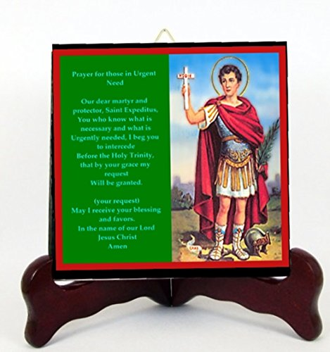 Gifts by Lulee, LLC Saint Expedite Patron of Urgent Matters and The Impatient Porcelain Tile Plaque Ready for Hanging or Displaying on Easel