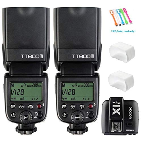 Godox 2X TT600S Camera Flash Speedlite GN60 High-Speed Sync 1/8000s 2.4G Wireless X-System Master Slave Light with X1T-S Trigger Transmitter Compatible for Sony Cameras &2X Diffusers&USB - Light Flash System