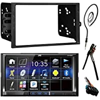 JVC KWV420BT 7 Touch Screen Bluetooth CD DVD Car Stereo Receiver Bundle Combo With Metra Dash Installation Trim Kit + Wiring Harness For GM Vehicles + Enrock 22 AM/FM Radio Antenna With Adapter