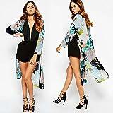 Diamondo 2016 New Floral Print Kimono Cardigan Long Beach Top Cover Up Jacket (Asian M)