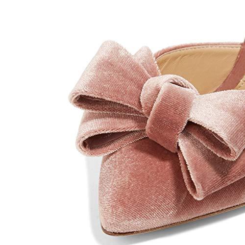 Degli Alti Donne Noi Aguzza Talloni Bowknot Punta 4 Scivolare 15 Eleganti Fsj Sandali Di Scarpe Rosa Stiletti Mulo Dimensioni ITtwdXq