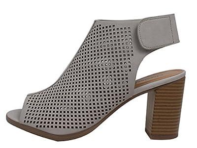 City Classified Women's Roadway Faux Leather Peep Toe Laser Cut Out Slingback Stacked Heels