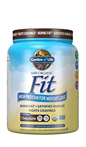 Garden of Life Raw Organic Fit Powder, Chocolate - High Protein for Weight Loss (28g) Plus Fiber Probiotics & Svetol, Organic & Non-GMO Vegan Nutritional Shake, 10 Servings