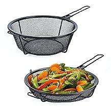 Grilling Basket, Arctic Monsoon, Non-stick Grill Skillet for BBQ, Popcorn, Seafood, Veggies & Stir Fry